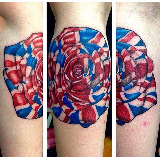 British Flag Rose Tattoo Traditional Uk Tattoo Small British Feminine Tattoo British Tattoo Tattoos Feminine Tattoos