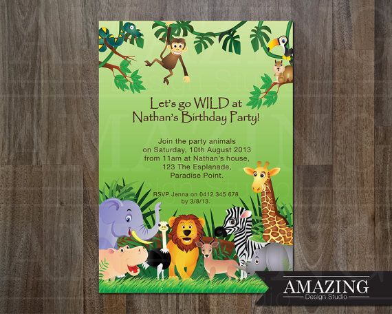 Jungle Birthday Invitation Personalized Printable Design In The Jungle Invitations For Girls Or Boys Party Perfect For Zoo Parties Jungle Birthday Invitations Jungle Invitations Birthday Invitations