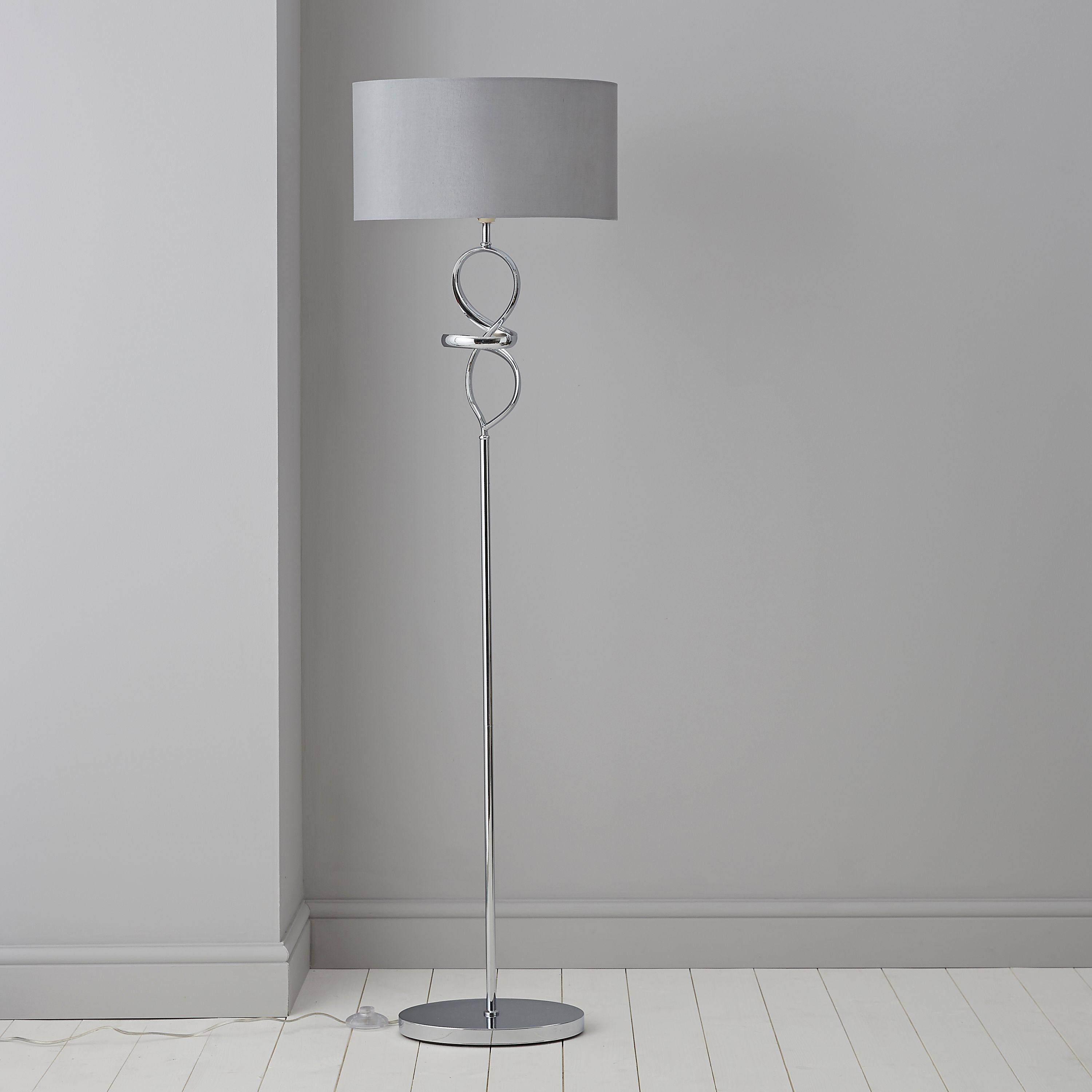 Hadwick Twisted Silver Chrome Effect Floor Lamp