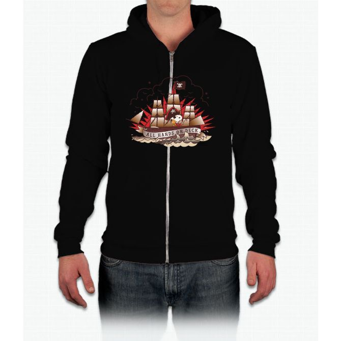 Peanuts All Hands On Deck Snoopy California Fleece Zip Hoodie