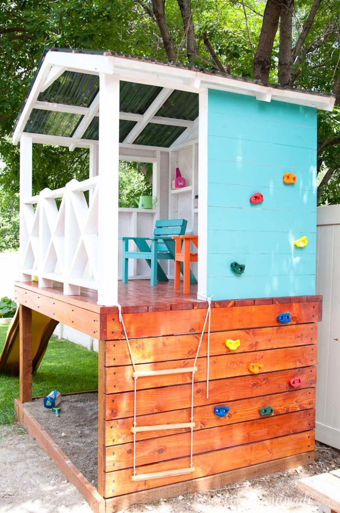 How to Build an Outdoor Playhouse for Kids - Houseful of Handmade