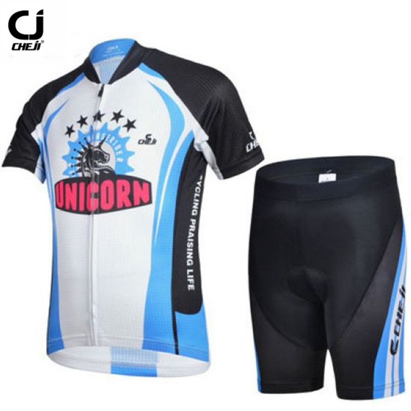 Hot Cheji Children Bike Jersey Shorts Sets Team Bicycle Ciclismo Cycling Clothing Unicorn Black Blue Boys Mtb Shirts Outdoor Outfit Cycling Outfit Kids Shorts