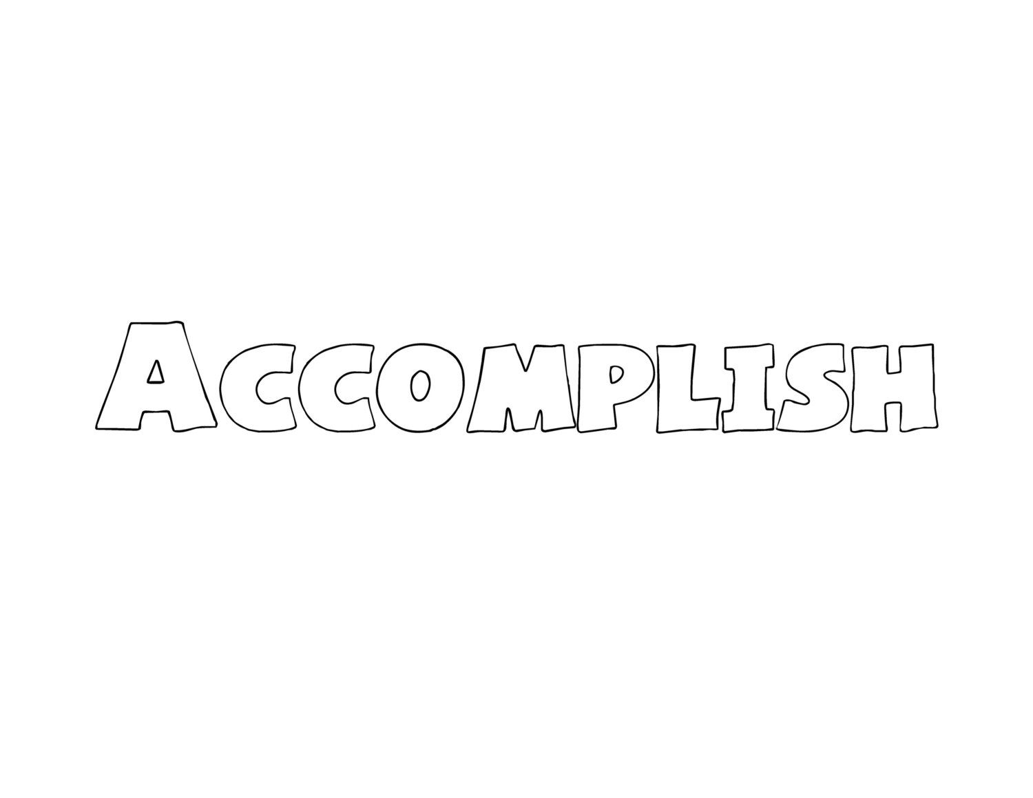 Accomplish One Word Doodle Page for New Year's Resolutions, Vision Board, Goal Planning, Mind Mapping, Inspiration, Motivation, etc. #001 by Rewondered on Etsy