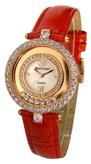 Royal Crown rose gold watch with diamond cut and prong set cubic zirconia on a red leather strap; $140 #RoyalCrown #rosegold #cubiczirconia