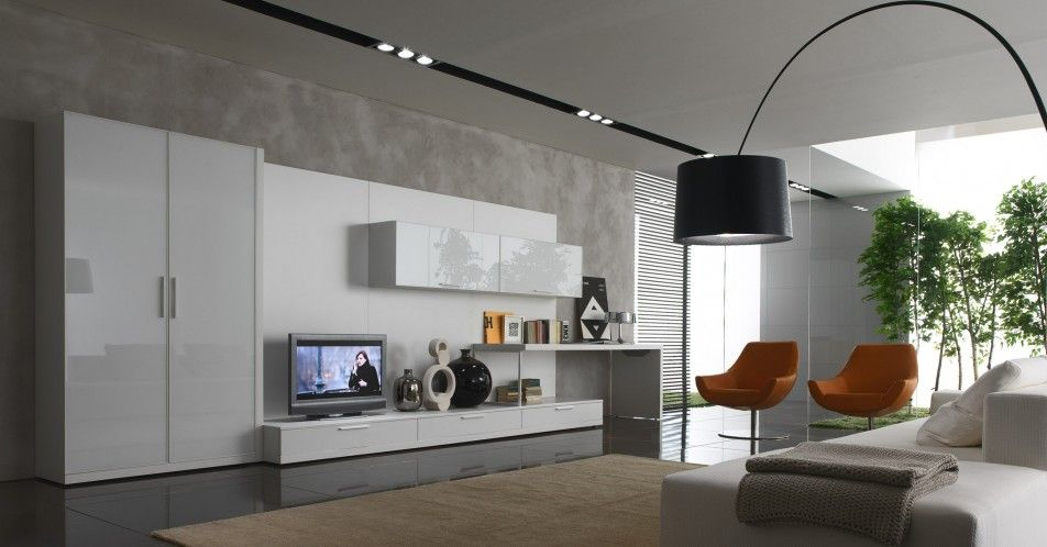 Interior Minimalist Living Room Design With White Sofa Bed Along Cabinet