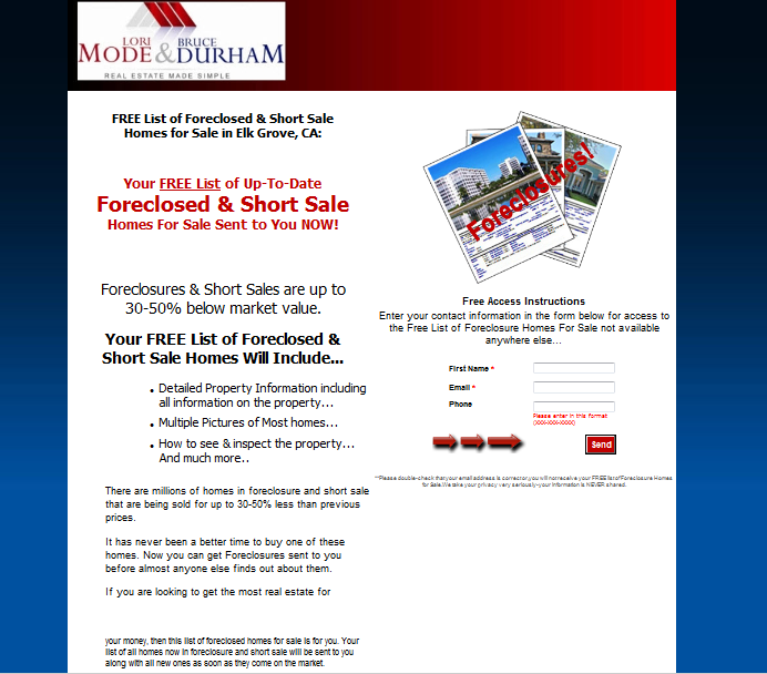 Get your FREE List of Elk Grove foreclosures and short sales