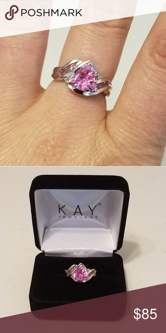 10k White Gold Lab Created Pink Sapphire Ring Pink Sapphire Ring Pink Sapphire White Gold