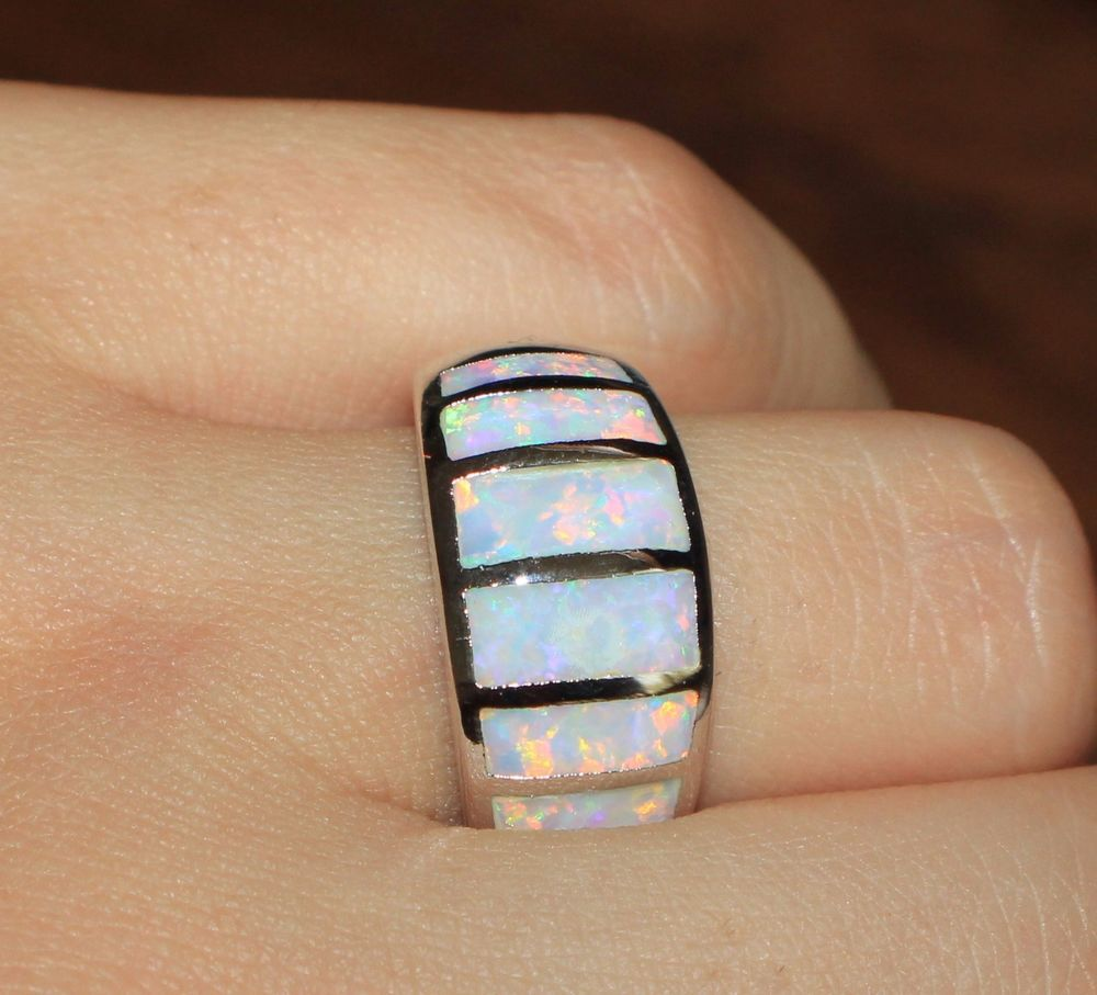 white fire opal ring gemstone silver jewelry Sz 8.25 modern wide wedding band HH #Cocktail