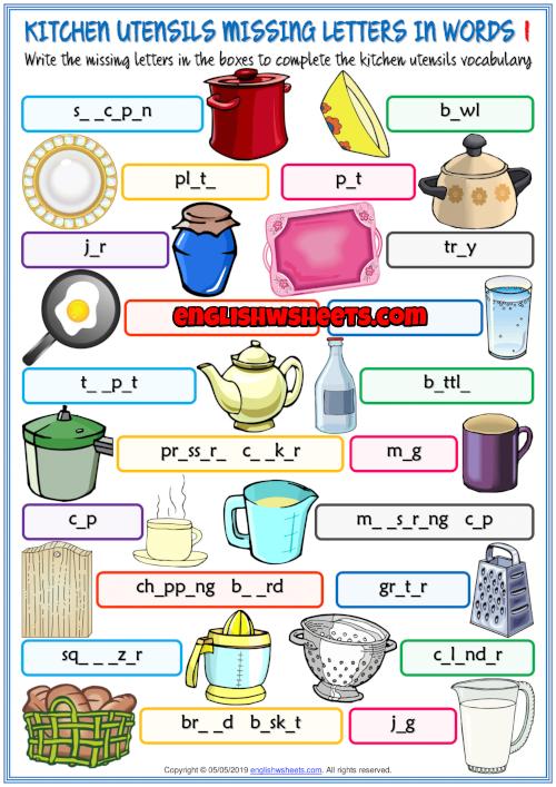 Kitchen Utensils Esl Missing Letters In Words Worksheet Learning English For Kids Kitchen Utensils Kitchen Utensils Worksheet