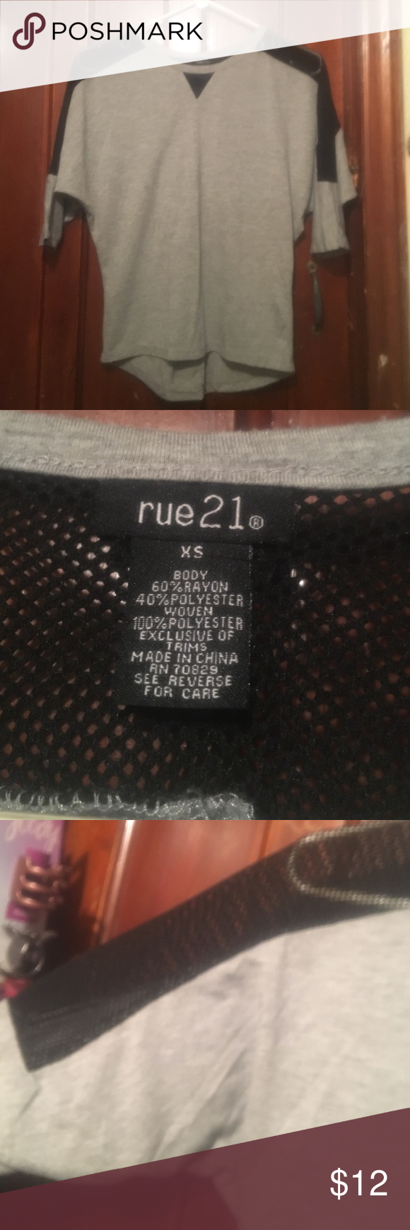 Rue 21 3/4 sleeve shirt Gray with mesh , 3/4 sleeve size xs Rue 21 Tops Tees - Long Sleeve