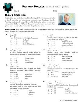 Person Puzzle - Rational Equations - Hans Rosling Worksheet ...