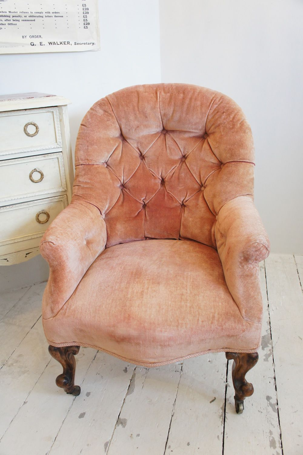 Very pretty pink velvet covered antique button chair from Belle