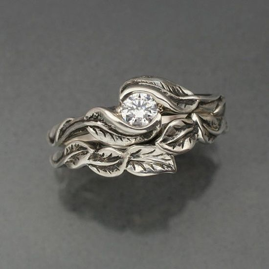 Unique Leaf Wedding Band And Engagement Ring Set Silver