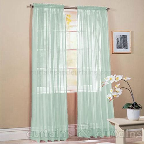Slot Top Mint Green Voile Net Curtain Panel Panel Curtains