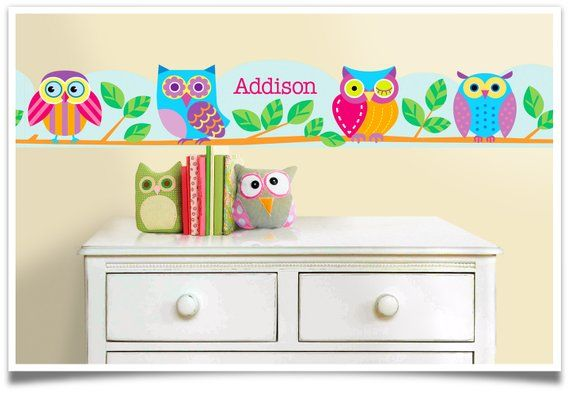 Olive Kids Personalized Owls Wall Decal Wall Border Owl