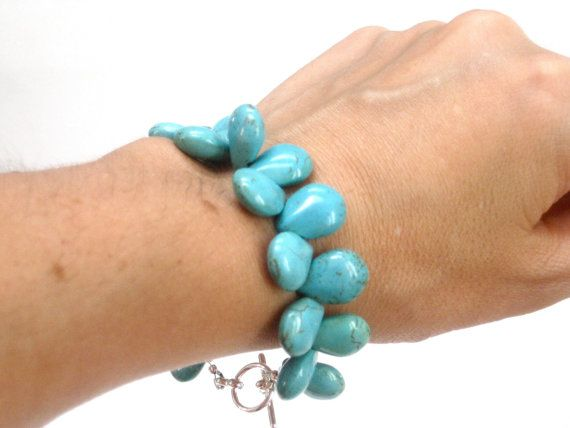 Chunky Turquoise Bracelet Teardrop Blue Green Turquoise by CCARIA, $18.00