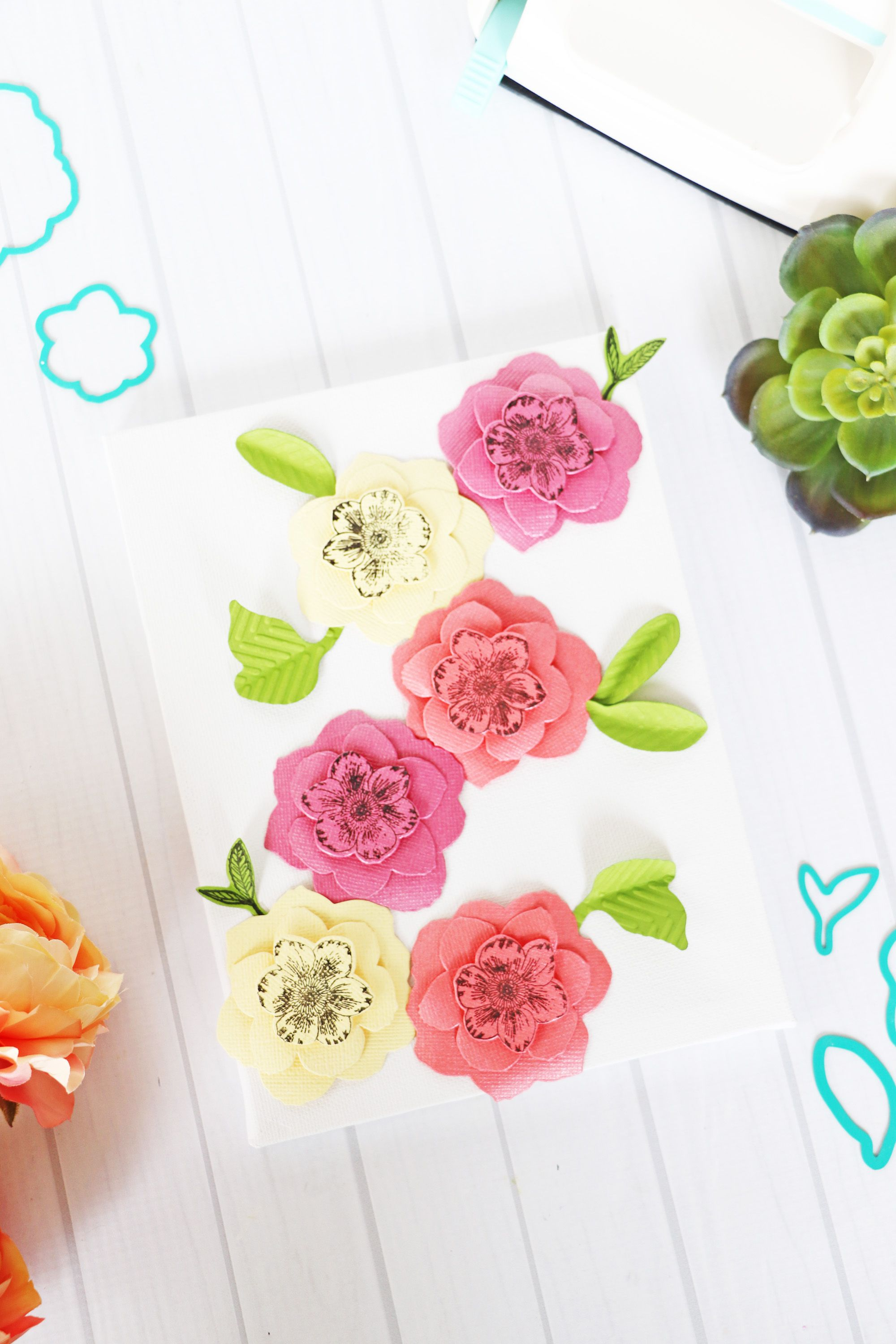 Paper Flower Canvas With The Mini Evolution Paper Flowers