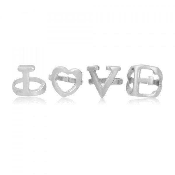 4PCS Chic Solid Color Letter Shape Women's Rings #women, #men, #hats, #watches, #belts, #fashion