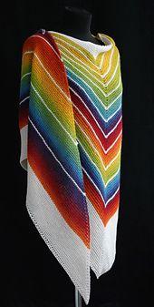 Ravelry: Red-moresque's Rainbow + white. Idee: de knot die ik heb afwisselend met wit gebruiken,  goede combi en zo komt de regenboog bol beter uit