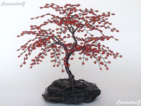 Red Cherry Blossom Beaded Bonsai Wire Tree Sculpture 8 Etsy Wire Tree Sculpture Tree Sculpture Bonsai Wire