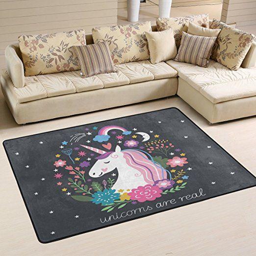 COOSUN Einhorn Teppich Rutschfest Für Wohnzimmer Schlafzimmer 182,9 X 121,9  Cm, Textil, Multi, 36 X 24 Inch