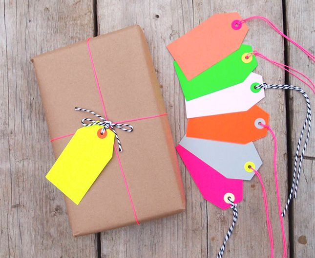 Add a neon gift tag to your holiday gifts.
