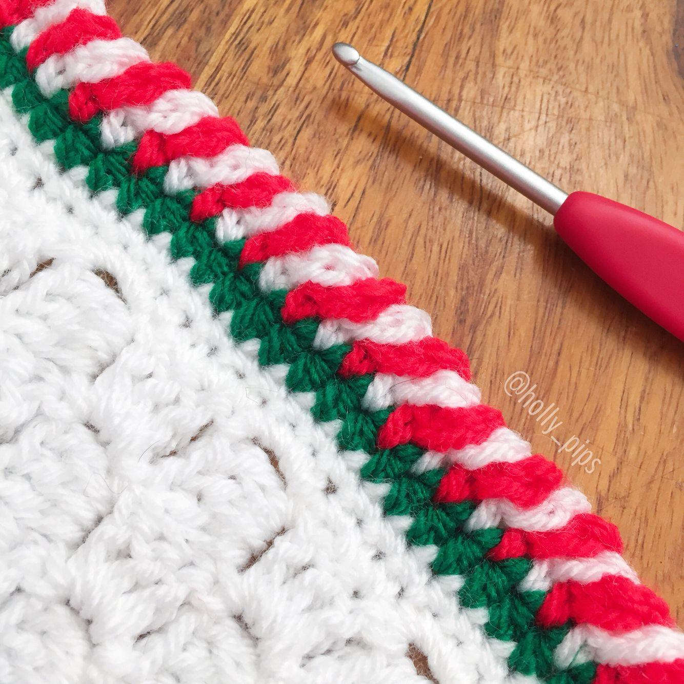Candy Cane Crochet Border
