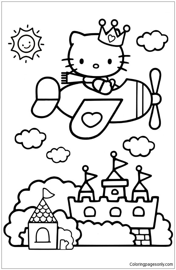 coloring pages hello kitty summer clothes | Hello Kitty Plane Coloring Page | Hello Kitty Coloring ...