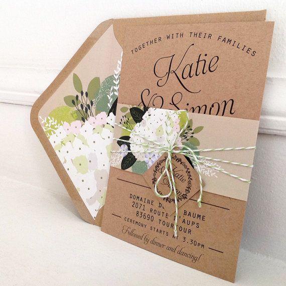 Kraft Wedding Invitation Bundle Lined By Papertreemedia