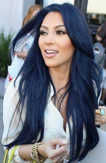 Kim K Always Rocking The Black Blue Hair Hair Color For Black