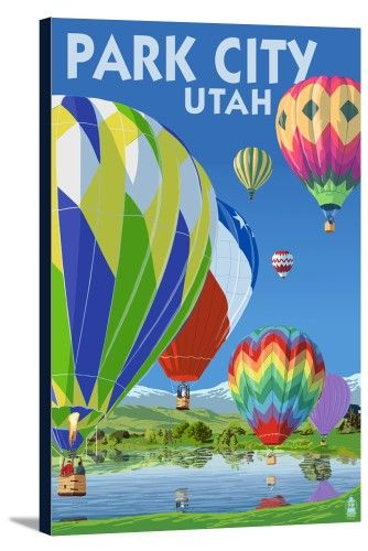 Park City, Utah - Hot Air Balloons - Lantern Press Artwork (16x24 Gallery Wrapped Stretched Canvas), Multi