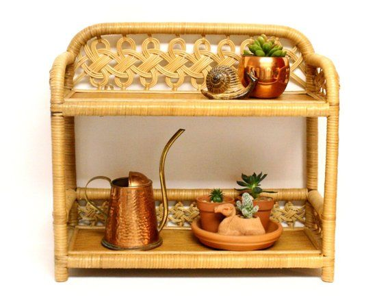 Vintage Wicker Wood Two Tier Shelf Suitable For Both Hanging On A Wall Or For Tabletop Display In 2019 Shelves Table Top Display Wicker Shelf