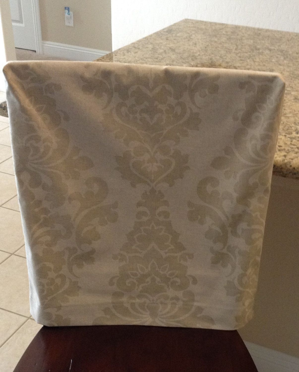 Natural Linen Fitted Chair Back Cover, Premier Prints Berlin Cloud Fabric,  Kitchen Chair Back