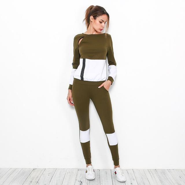 687d7a97ae 2Piece/Set Women Yoga Sets Sports Suit Long Sleeve Loose Sweatshirt + Pants  Fitness O-neck