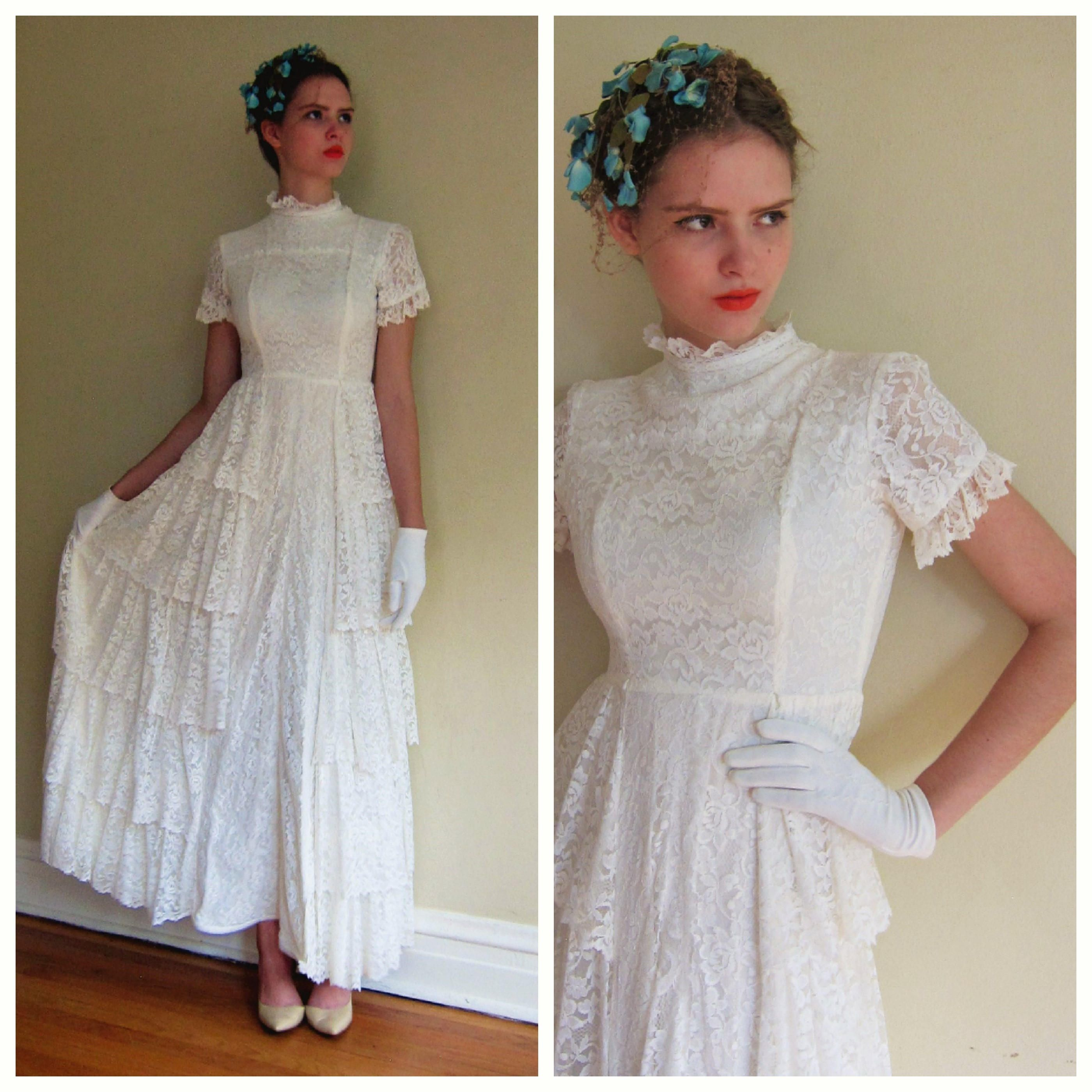 Vintage 1930s White Lace Wedding Dress Tiered Skirt 30s Short Sleeved Bridal Gown Small Short Sleeve Bridal Gown White Lace Wedding Dress Wedding Dresses Lace [ 2800 x 2800 Pixel ]