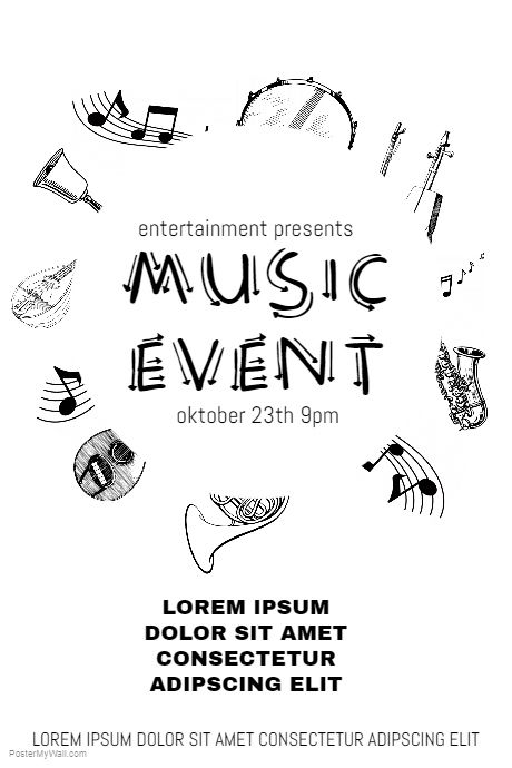 Black And White Music Event Flyer Template Postermywall Event