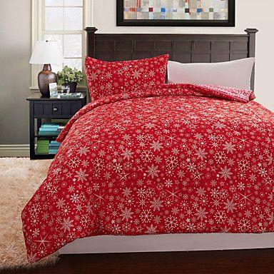 3-Piece Red Floral Christmas Quilt Set Quilt sets, Floral quilts