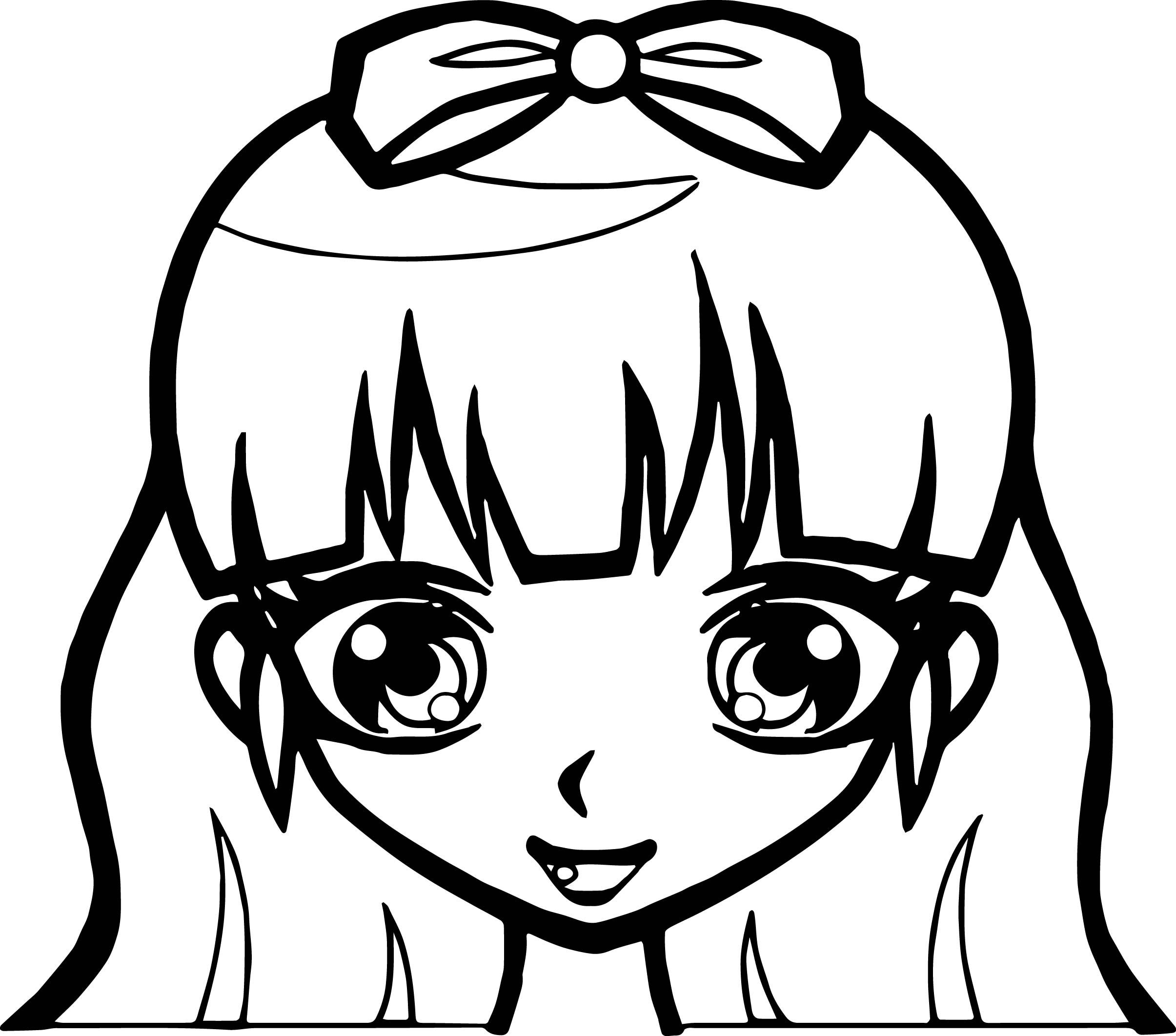 Awesome Manga Cute Girl Face Coloring Page Manga Cute Girl Face