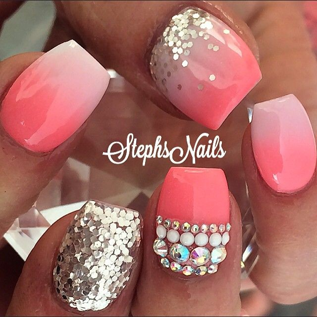 #coral#white#silver#chunkyglitter#tripleombre#notpolish#nails#coralnails#stephset#diamonds#love#stephs#nails