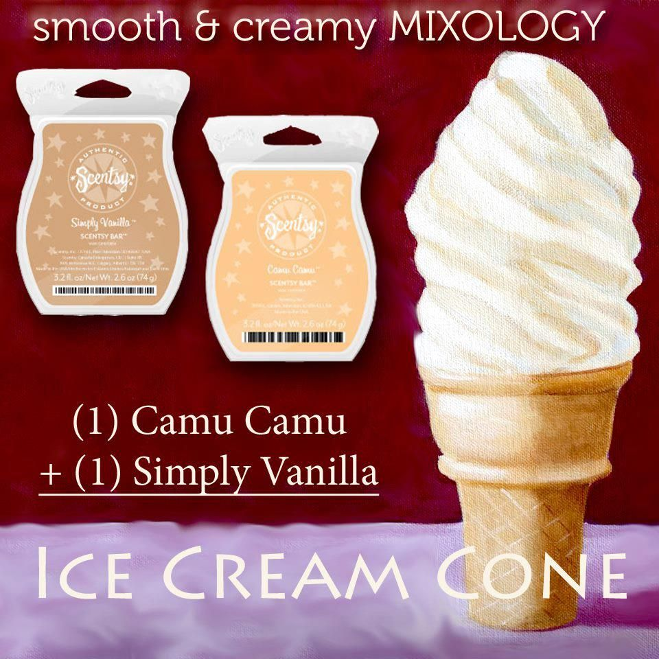 I Scream you Scream we all Scream for Ice Cream. One Scentsy cube of Camu Camu and one Scentsy cube of Simply Vanilla! Enjoy with out the calories https://kschwoch.scentsy.us/