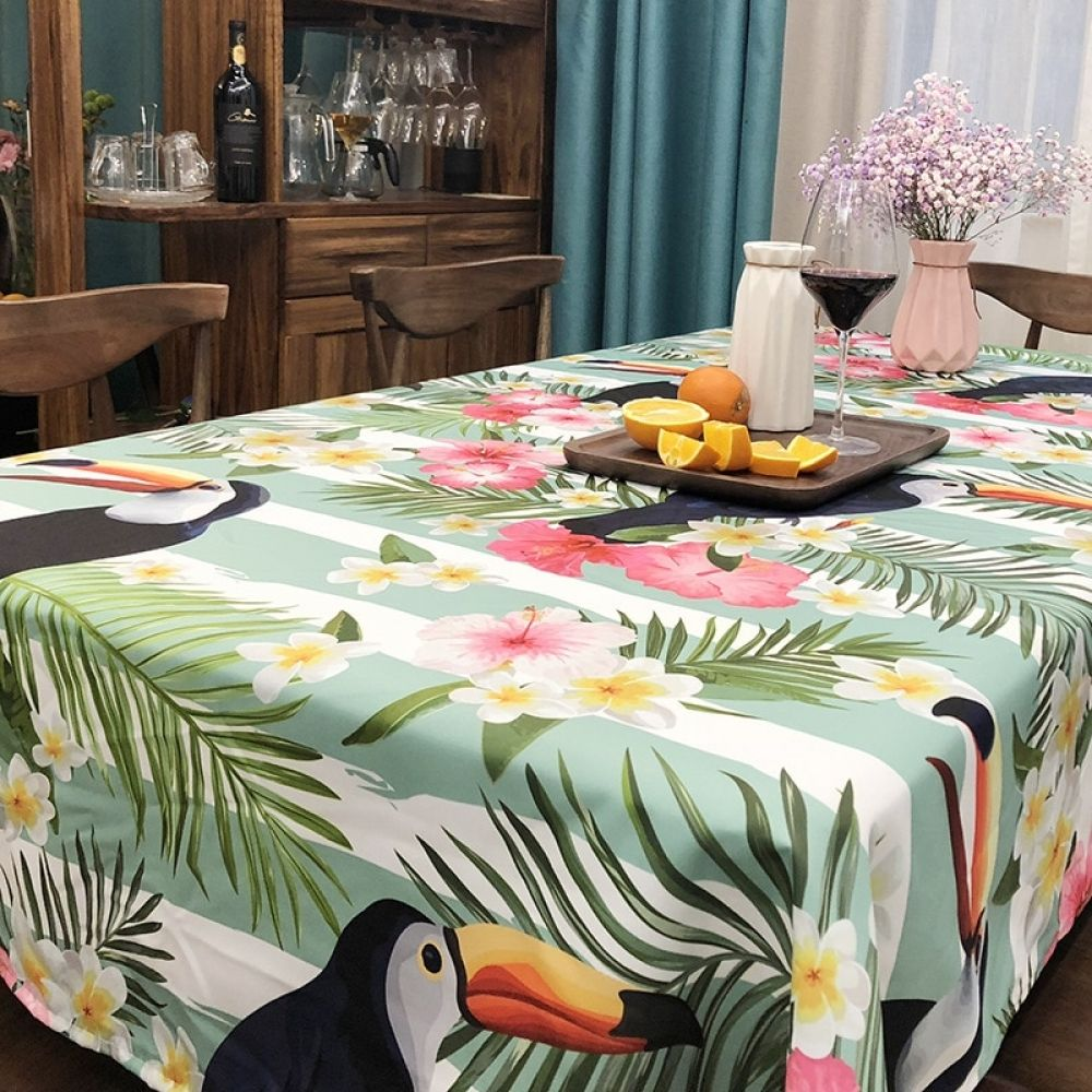 Flamingos Print Table Cloth Tropical Plant Rectangle Dining Table Decoration Cover Polyester Cotton Tablecloth For Kitchen Rectangle Dining Table Dining Table Decor Table Cloth