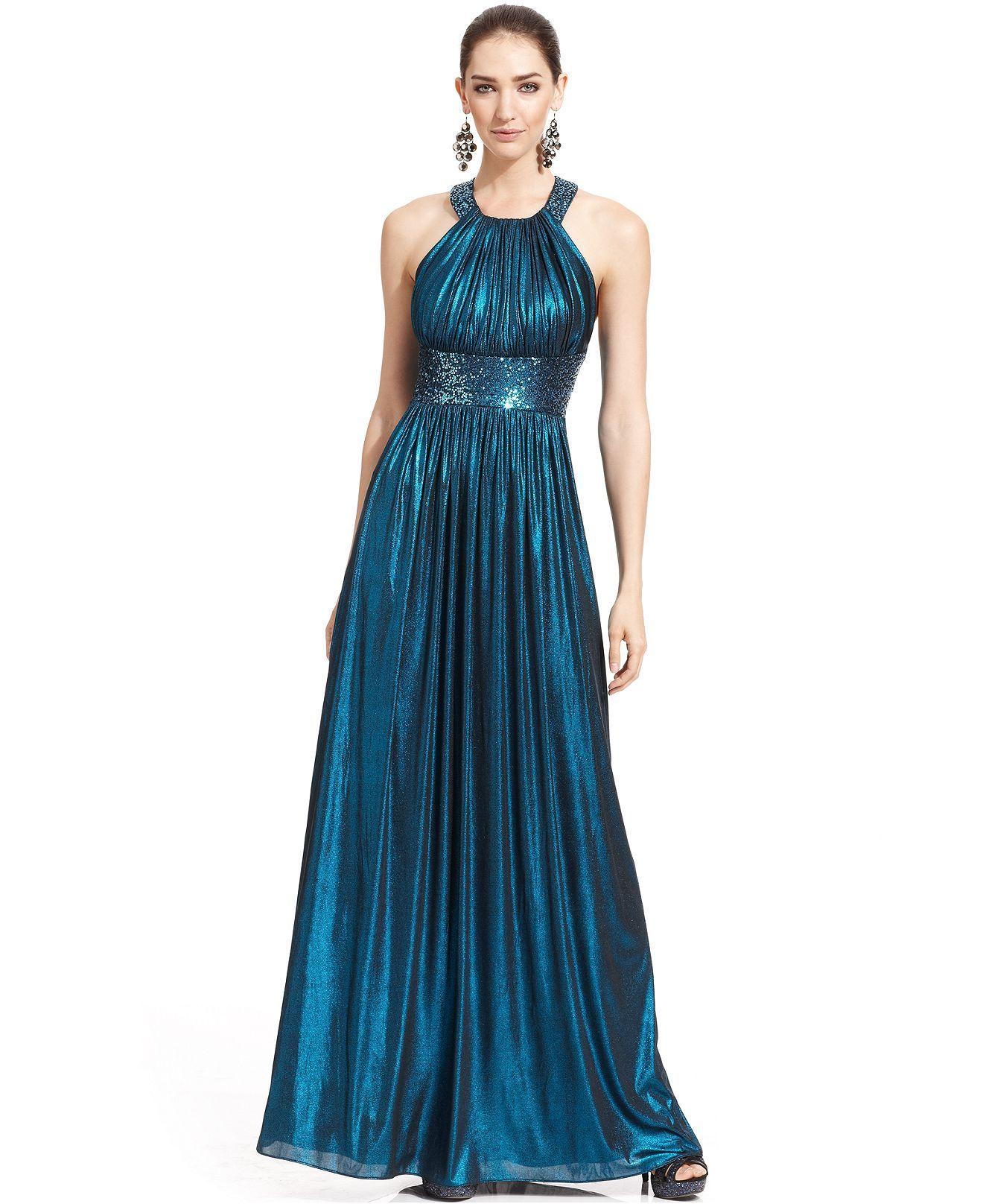 Calvin Klein Metallic Sequin Halter Gown