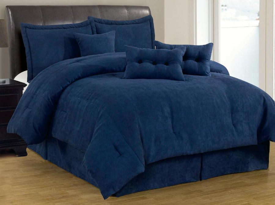 Architecture Navy Blue Comforter Set King 7 Pc Solid Micro Suede