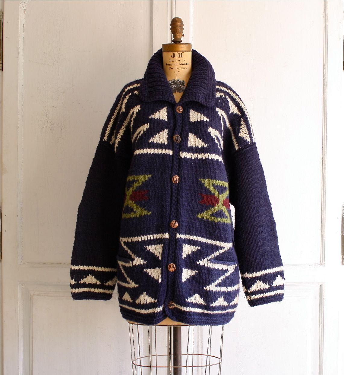 Oversized tribal sweater navajo cardigan . chunky knit . large ...