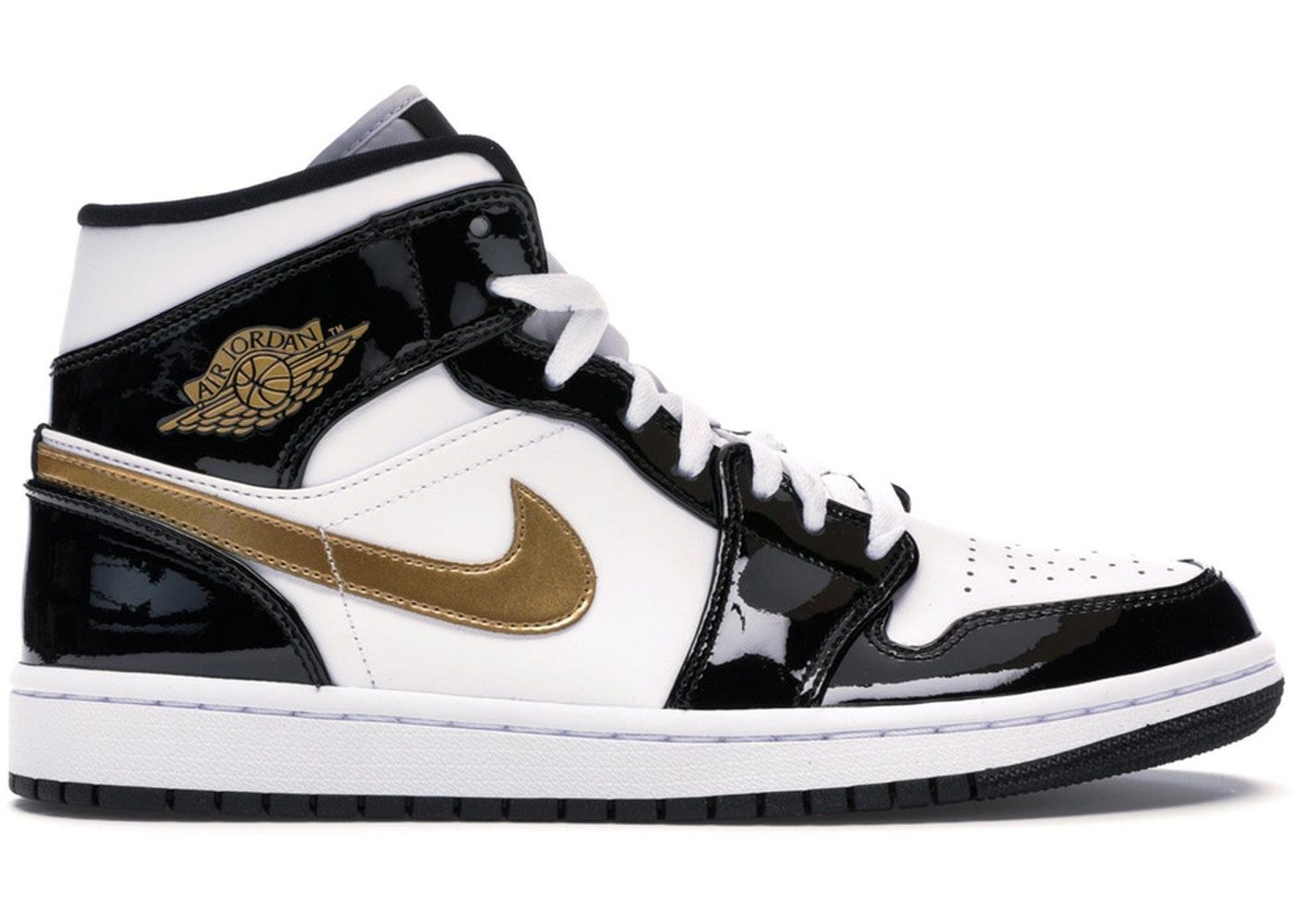 Jordan 1 Mid Patent Black White Gold Air Jordan Retro