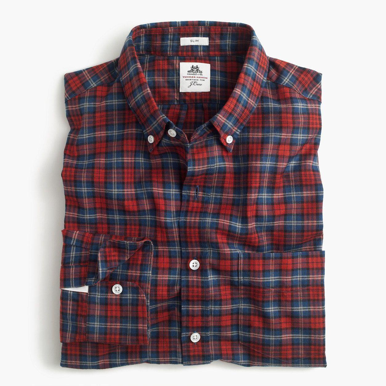 709770f6324c72 Slim Thomas Mason For J.Crew Flannel Shirt In Red Plaid (Size S ...