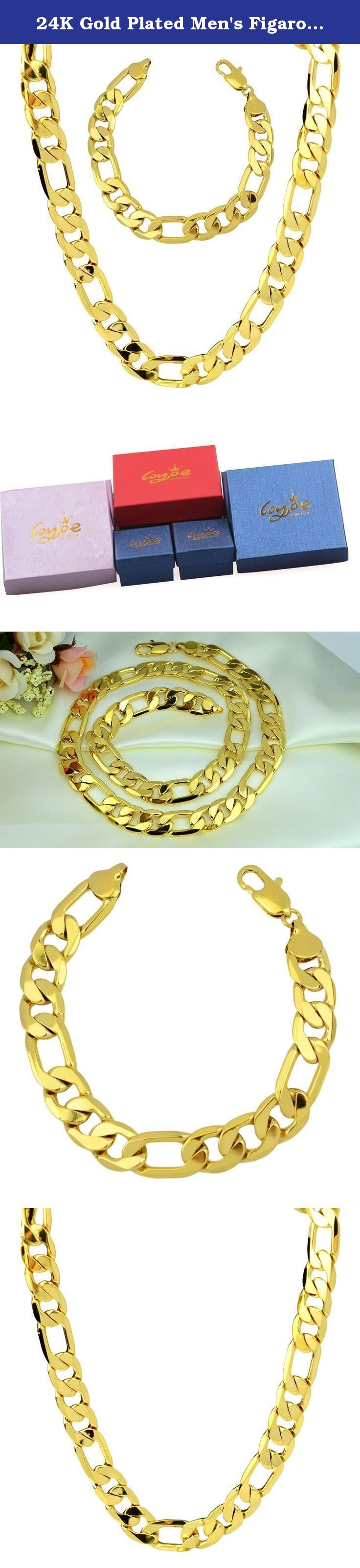 "24K Gold Plated Men's Figaro Chain Bracelet 9""and Necklace 24"" Jewelry Set 136g,12mm. Yellow gold plated necklace bracelet sets solid curb chain jewelry sets necklace size: 600mmx12mm 24"" bracelet size: 230mmx12mm 9"" weight:136g included 1 pcs necklace + 1pcs bracelet weight jewelry set."