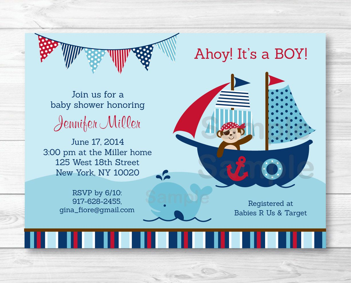 Nautical Pirate Whale Baby Shower Invitation / Nautical Baby Shower ...