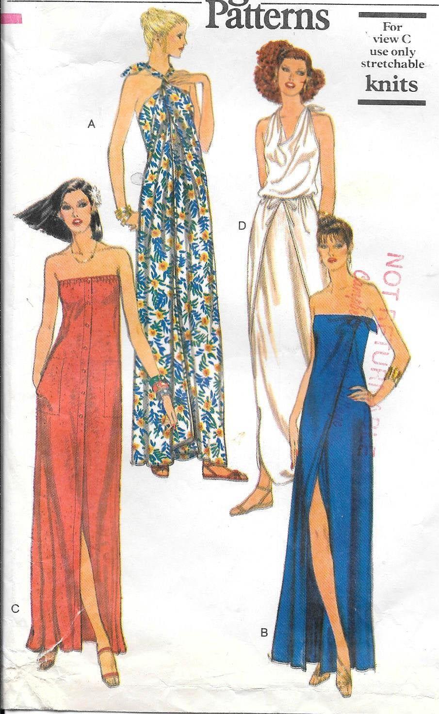 1970s Vogue 7112 Long Wrap Dress Strapless Halter Or Drape Neckline Vintage Sewing Pattern Si Maxi Dress Pattern Sewing Long Knitted Dress Vogue Dress Patterns [ 1472 x 905 Pixel ]