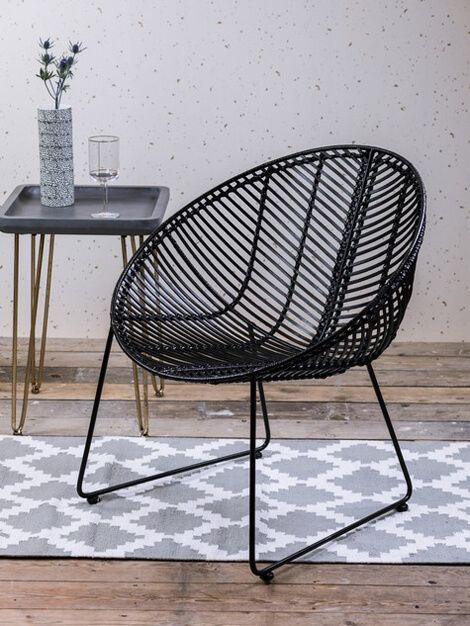 Marvelous The Round Black Rattan Chair Made From A Powder Coated Metal Frame With A Black  Rattan